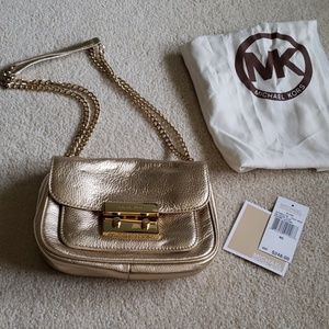 MK metallic gold chain crossbody shoulder bag